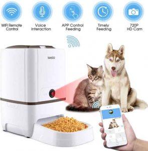 Iseebiz 6L Distributeur Automatique de Nourriture pour Animaux de Compagnie avec Caméra Rappel Vocal et Programmateur 6 Repas par Jour pour Chien Chat