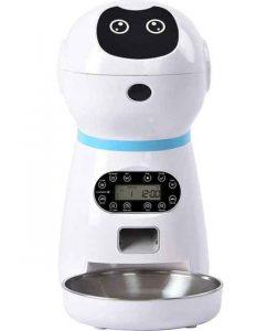 Distributeur Croquettes pour Chat Alimentateur Automatique, En Acier Inoxydable -Blanc_Alimentation Électrique Européenne